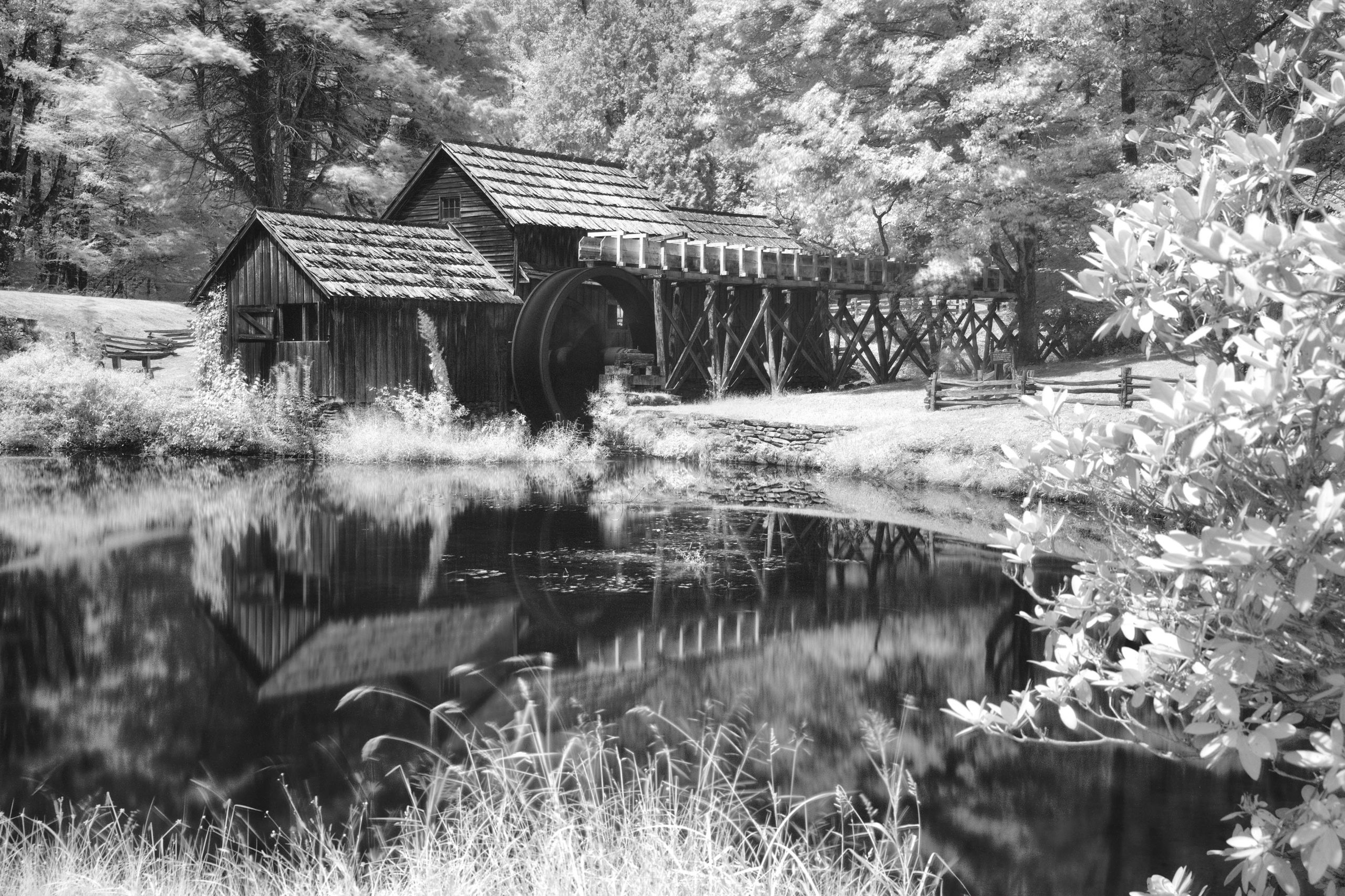 Mark Roberts; Infrared of Mabry Mill; Blue Ridge Parkway category winner; 2020 Appalachian Mountain Photography Competition & Exhibition.