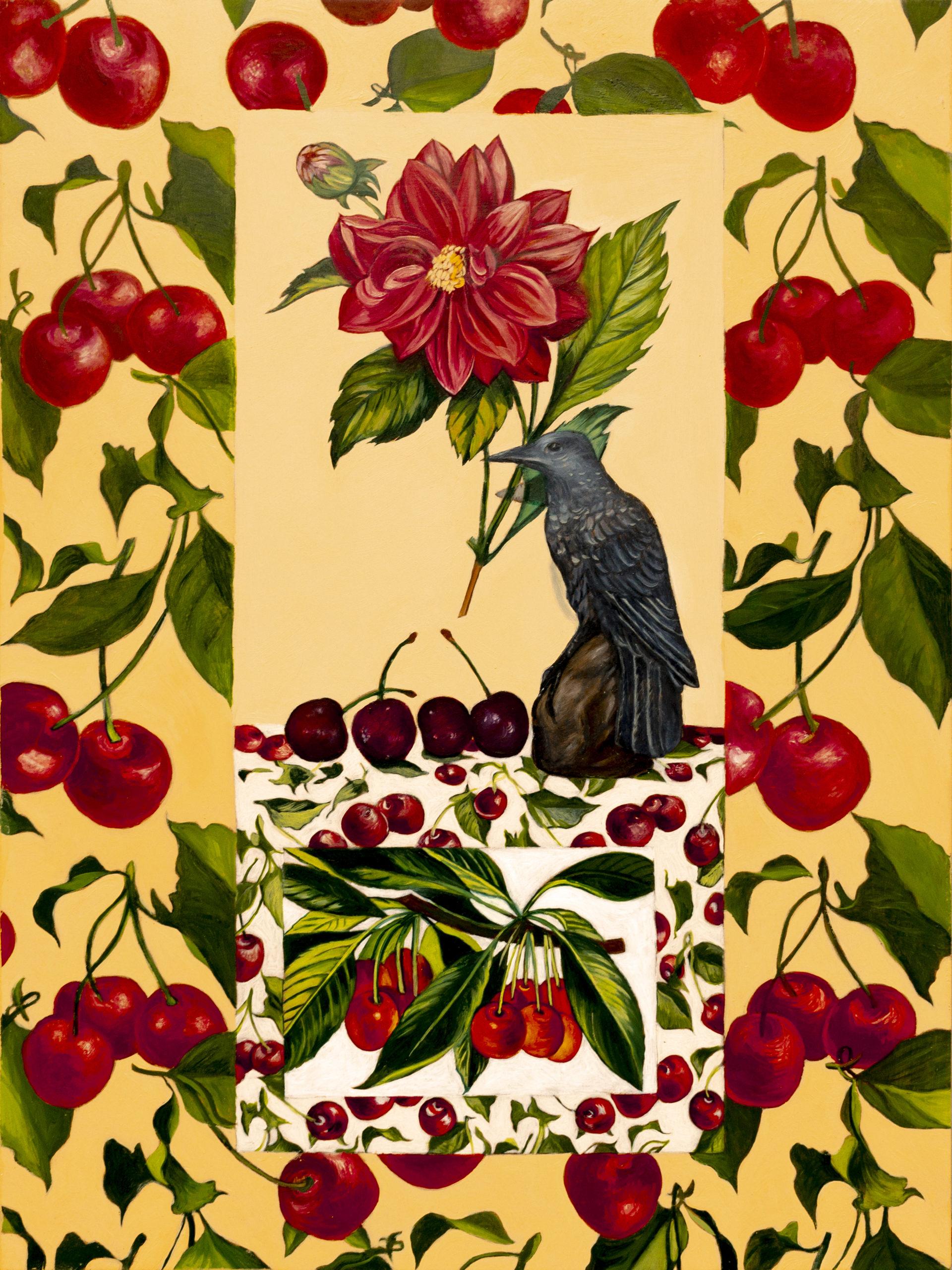 Jacklyn St. Aubyn; Cherry Universe, 2019; Oil on panel. Photo by Joshua Rose.