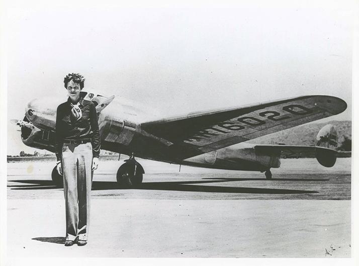 Amelia Earhart and Plane