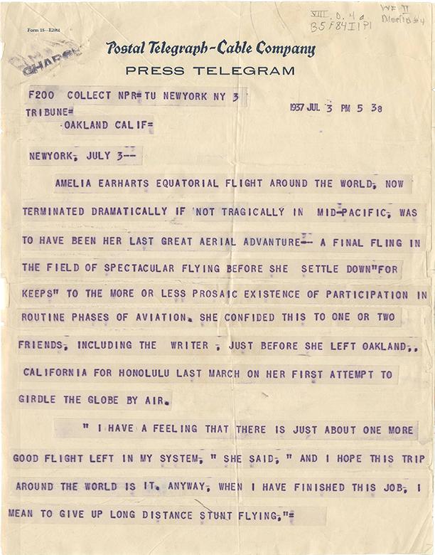 Press Telegram 3 July 1937